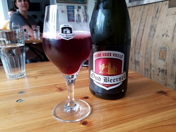 Oud Beersel Kriek Lambic Glass and Bottle